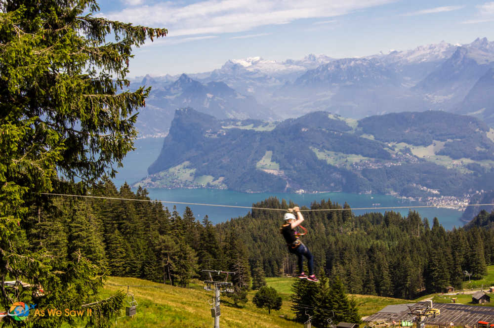 A zip-line is available at Mount Pilatus.