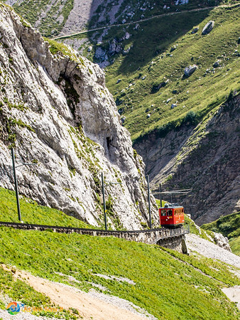 Train up to Mount Pilatus from Lucerne, Switzerland.