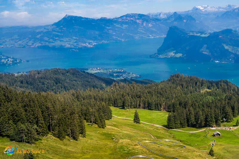 View of Lake Lucerne from gondola to the top of Mount Pilatus.