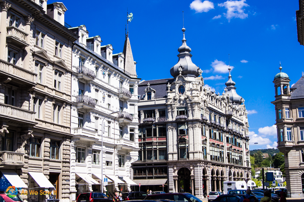 Onion domes and Swiss architecture in Zurich