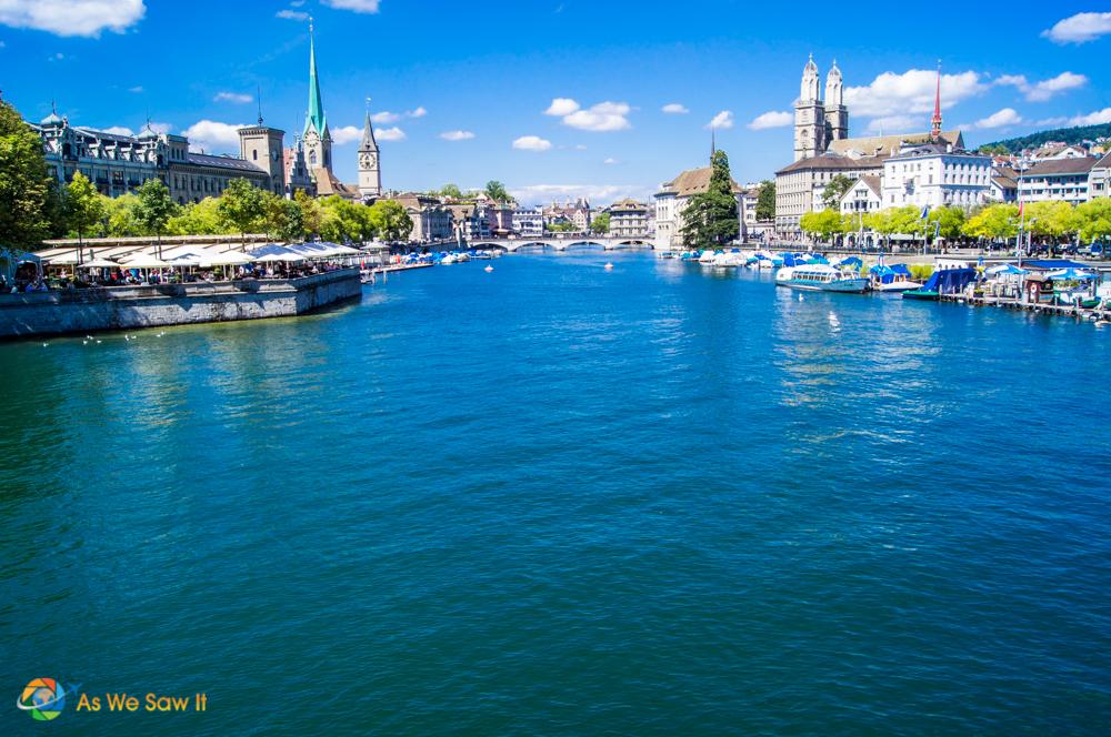 Lake Zurich and the city of Zurich, Switzerland