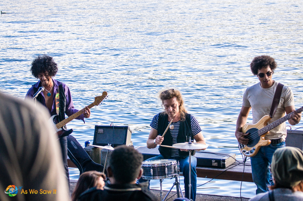 Musicians along lake front during the music festival.