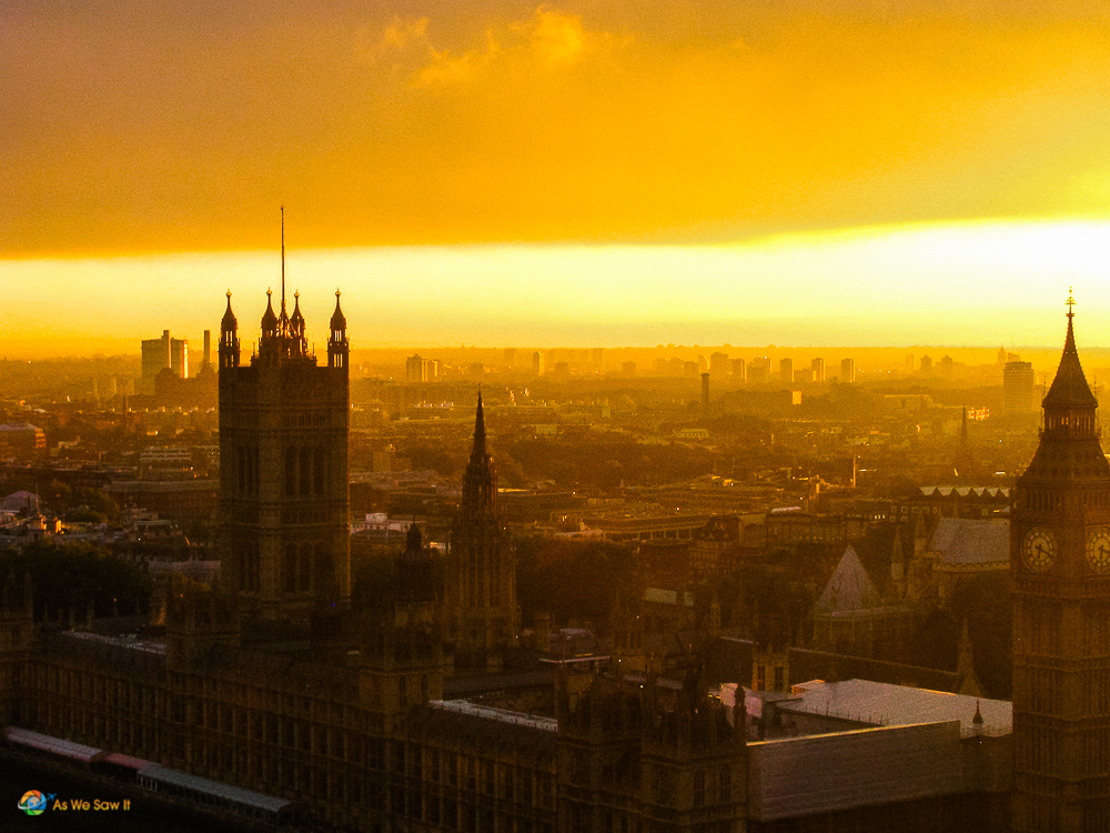 Skyline of London at sunset