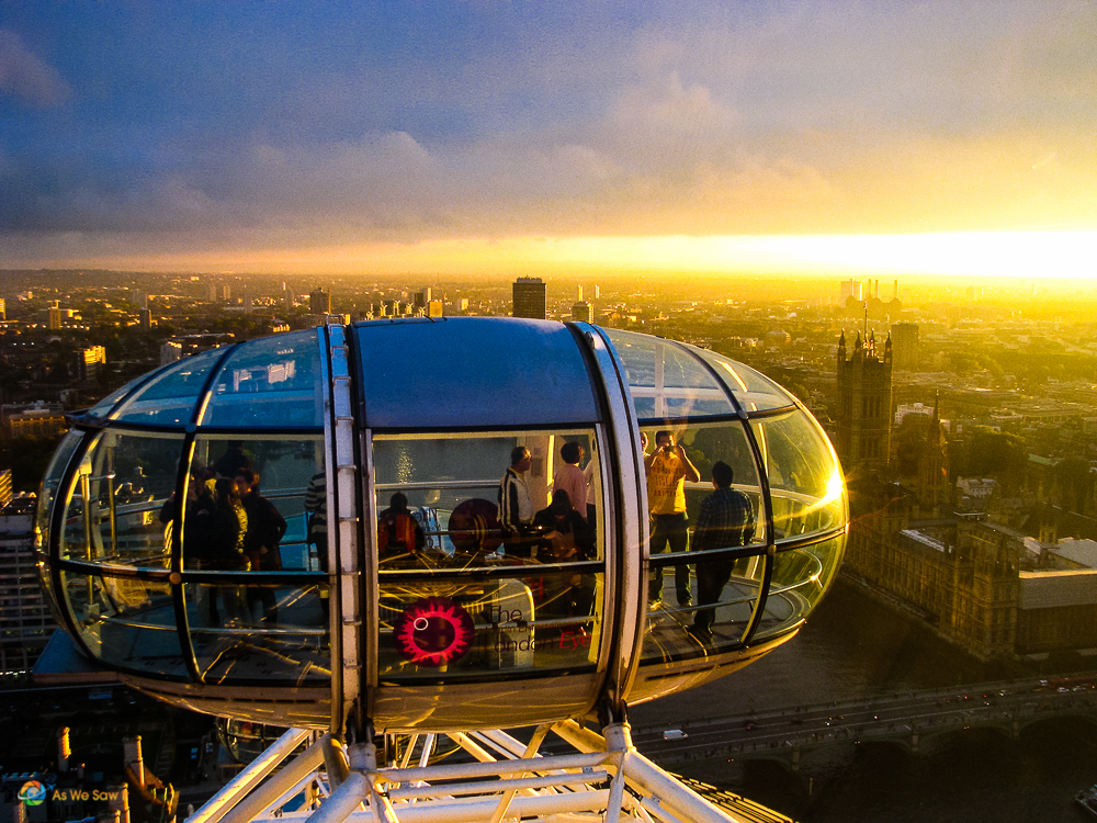 Sun is setting on London during our London Eye ride