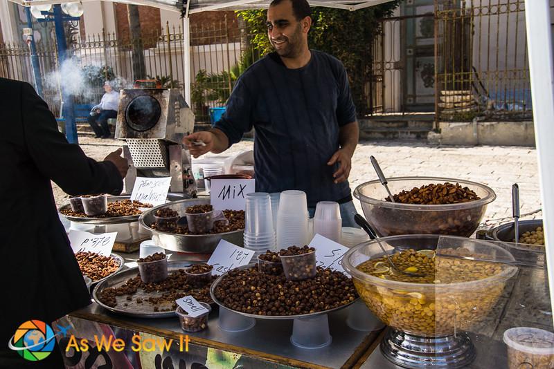 Enjoying street food in Jaffa, Israel