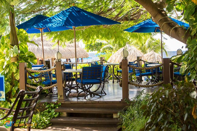 tables at Hilton's tiki bar in Curacao