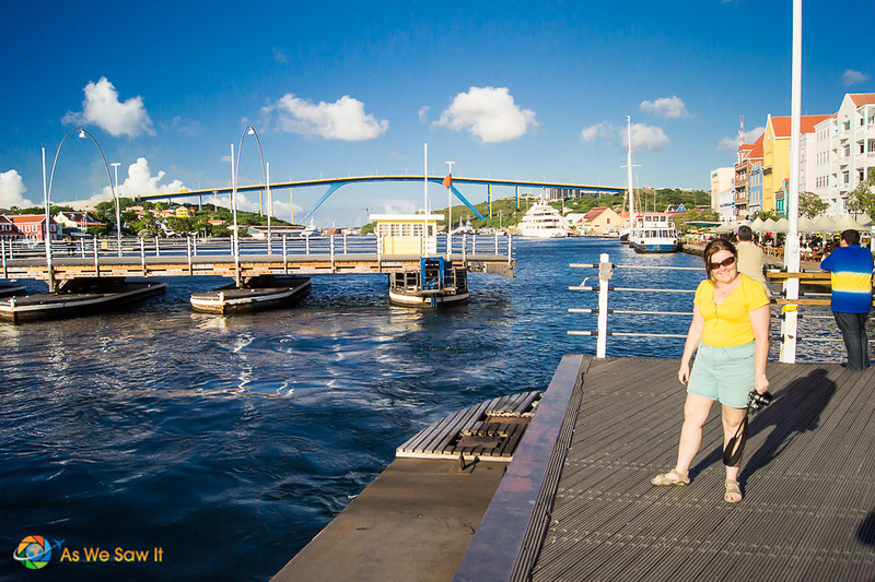 Standing on Queen Emma pontoon swinging bridge in Willemstad, Curacao