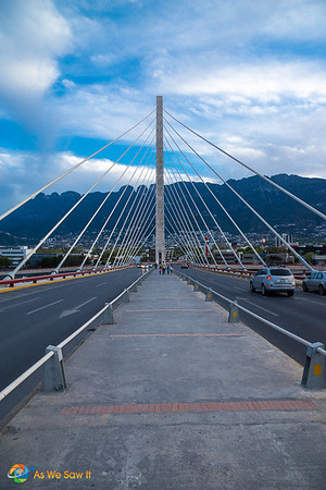 Suspension bridge used as a locals landmark in Monterrey, Mexico