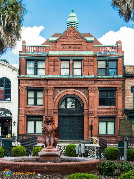 Old building that was once the Savannah Cotton Exchange. Griffin fountain in front.