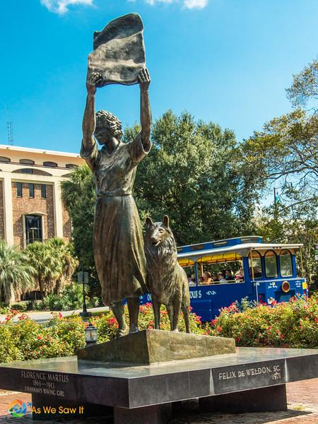 Waving Girl statue in Savannah. Dog at her feet