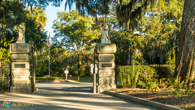 Columns that mark the gated entry at Bonaventure Cemetery