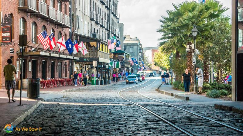 Trolley tracks lead down the cobbled road at Savannah River Street
