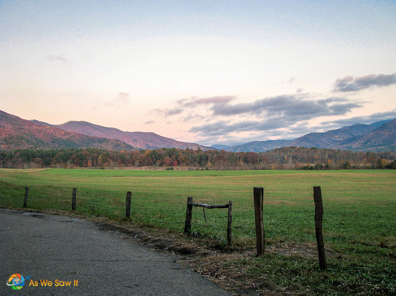 Cades Cove, Tennessee at sunset