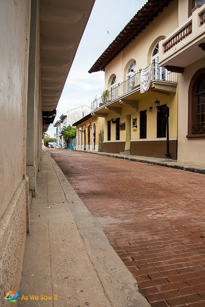 Red-bricked street in Casco Viejo, Panama City's old town