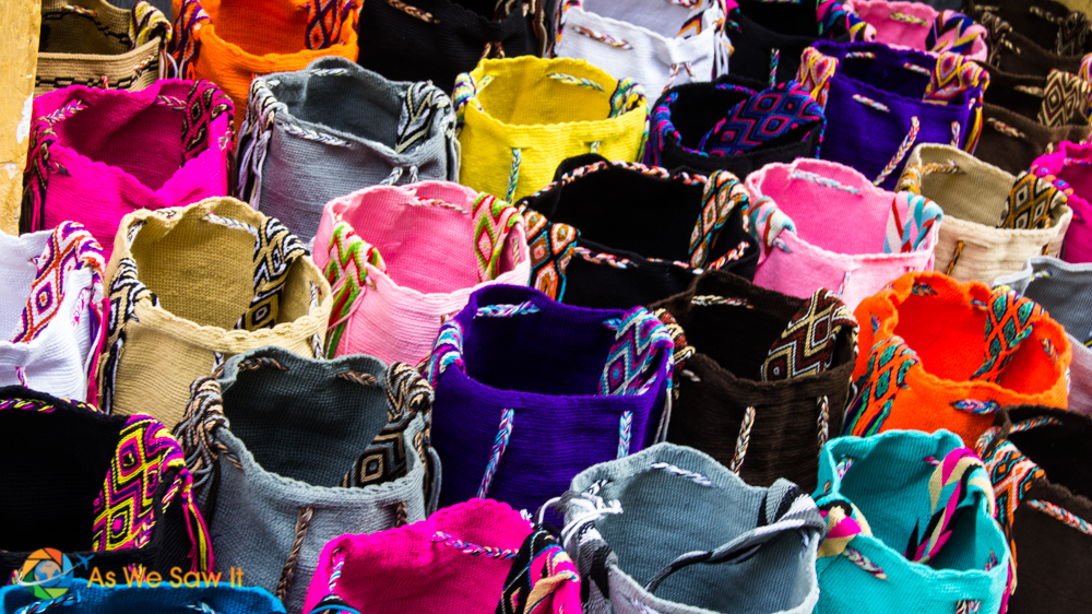 Closeup of Wayuu bags