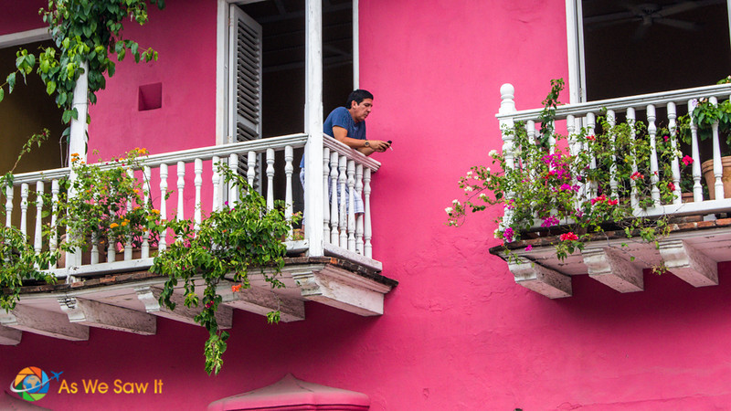 Balcony on pink house in old town Cartagena