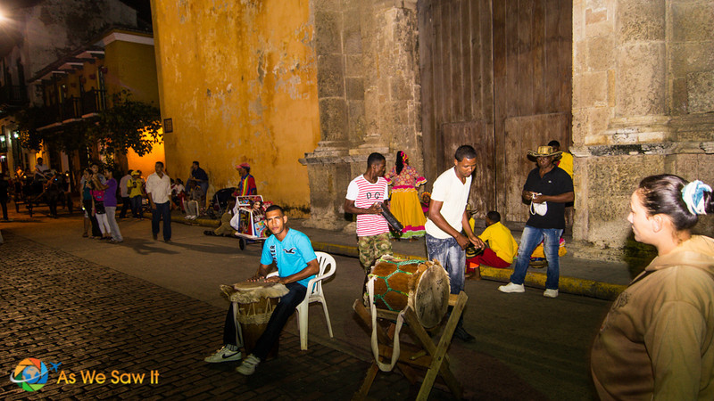Cartagena buskers after dark