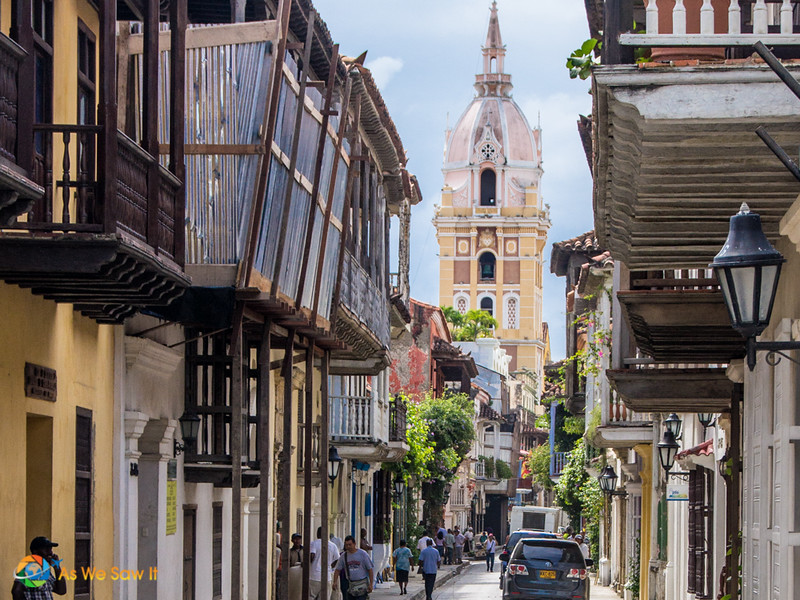 Cartagena street with church spire in the background