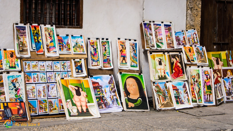 Paintings for sale on a Cartagena street