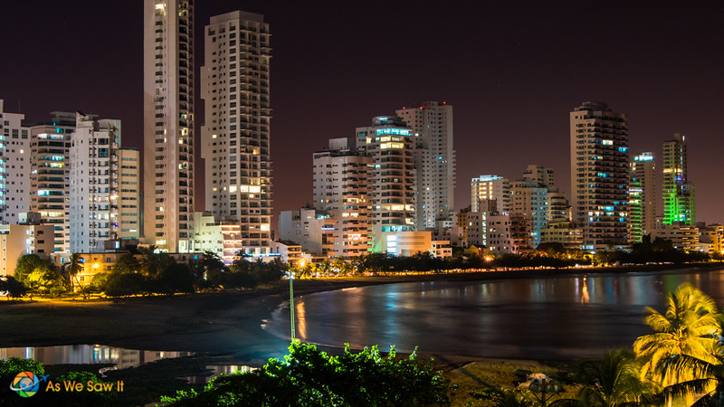Cartagena skyscrapers at night, as seen from across the water