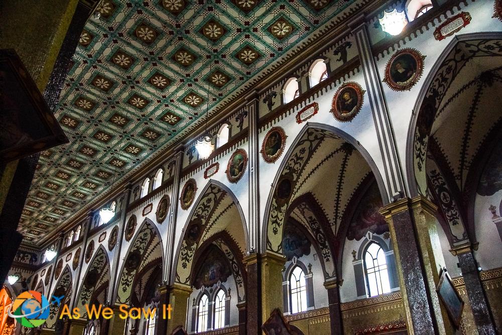 Neo-gothic ceiling of church in Banos Ecuador.