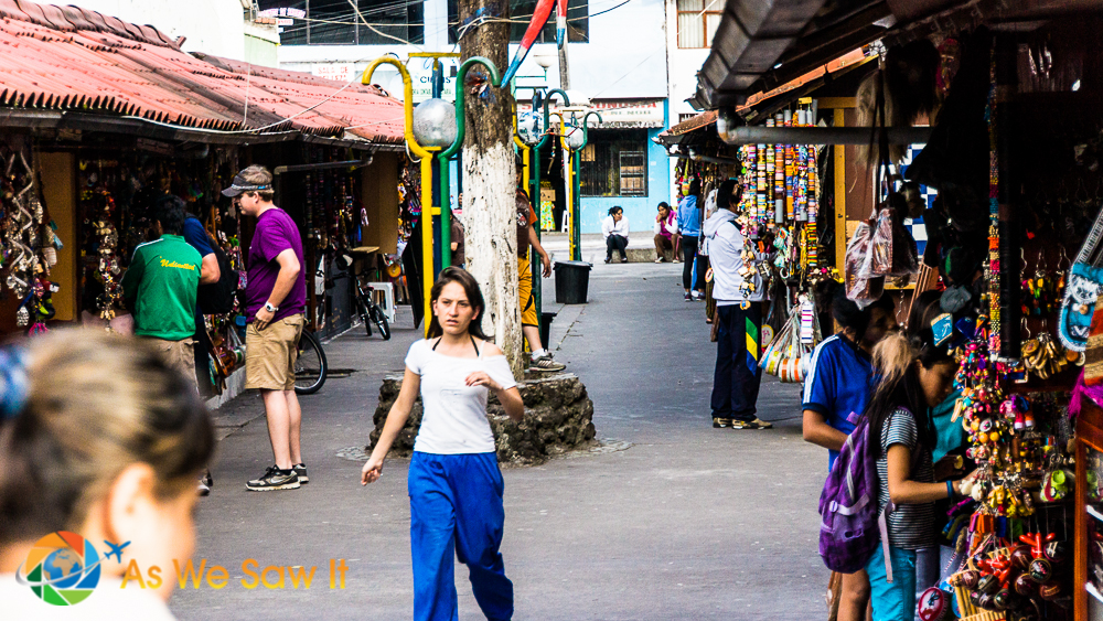 A walkway of souvenir shops in Banos Ecuador