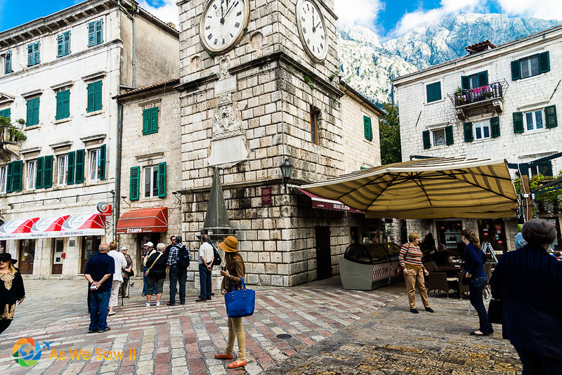 Kotor's old clock tower in Piazza of the Arms