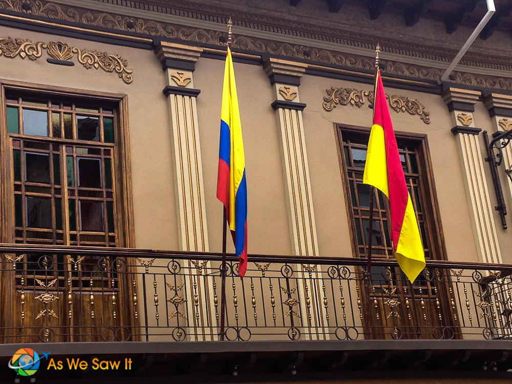 Flags are on many balconies in Cuenca.