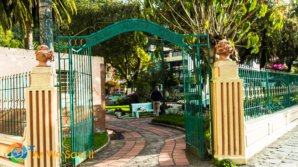 Parque Palomino Flores arched entrance gate,in Banos, Ecuador.