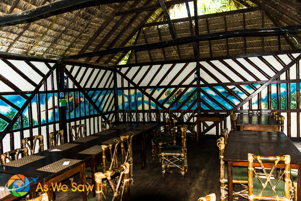 Like all of Cotococha Amazon Lodge, the dining room is open and has a thatched roof