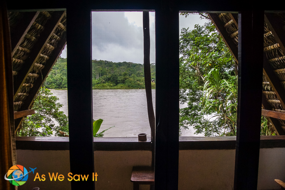 View of the Napo River through the screen in our bungalow