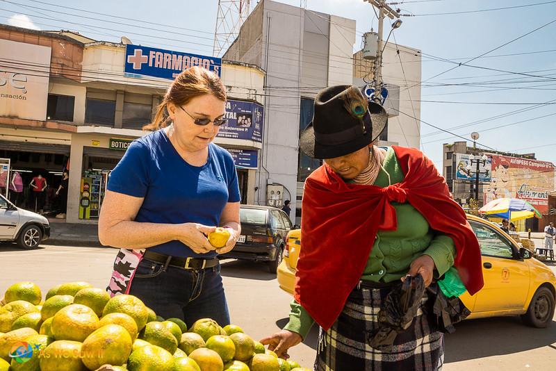 Shopping at the local market in Cuenca, Ecuador