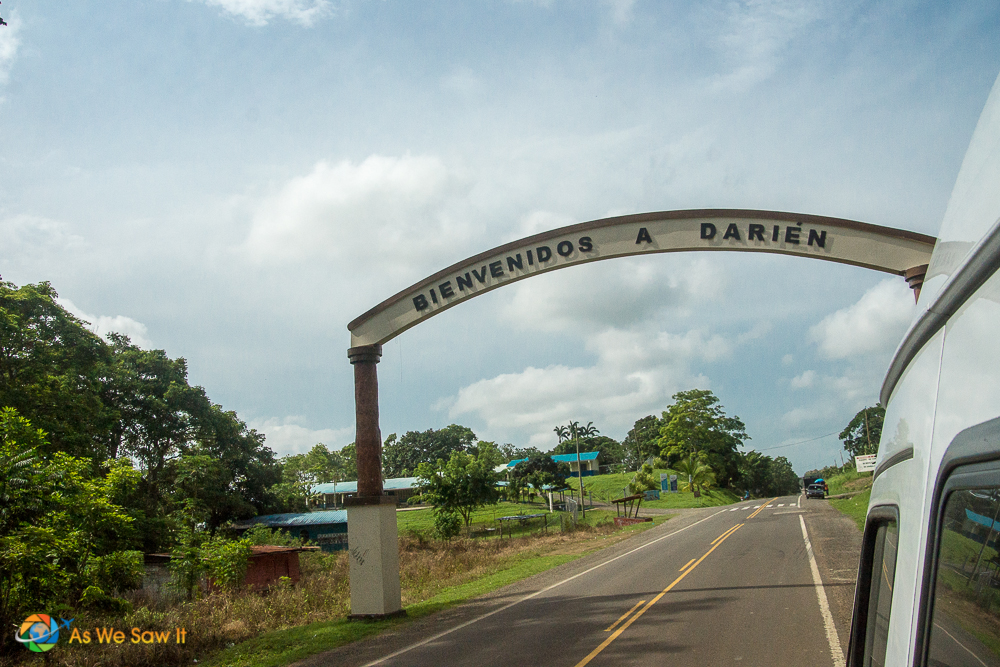 Welcome sign above the road entering the Darien Province in Panama.