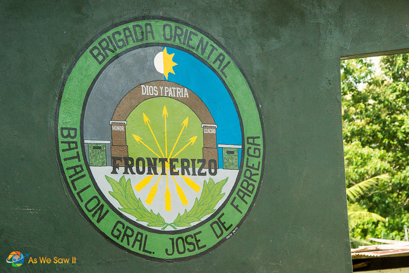 Logo of the Frontier Police, on the side of a police truck.