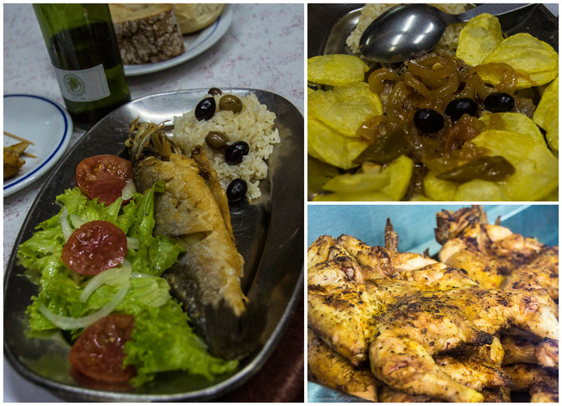 Collage showing 3 portuguese foods: grilled sardines, fried potatoes and seasoned chicken wings